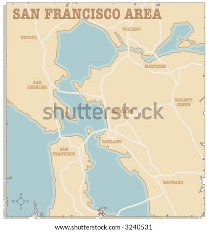 A slightly torn map of the San Francisco and Oakland areas - stock vector
