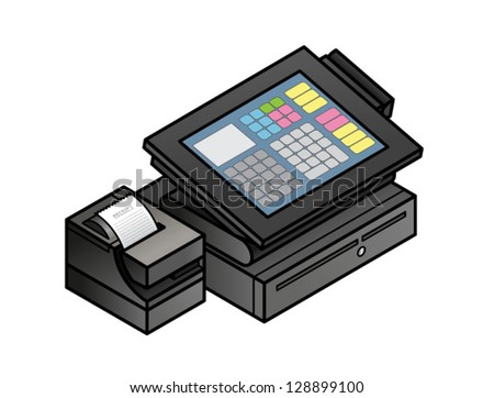 A slim profile touchscreen point of sale terminal with a card reader, receipt printer, and cash drawer. - stock vector