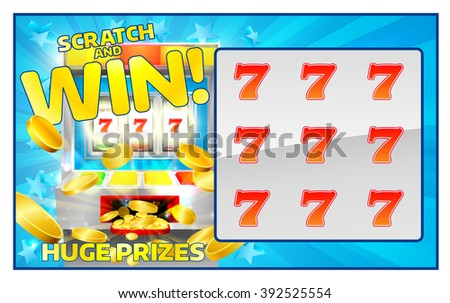 A slot machine lottery instant scratch and win scratchcard - stock vector