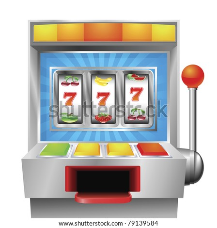 A slot or fruit machine illustration on white background - stock vector
