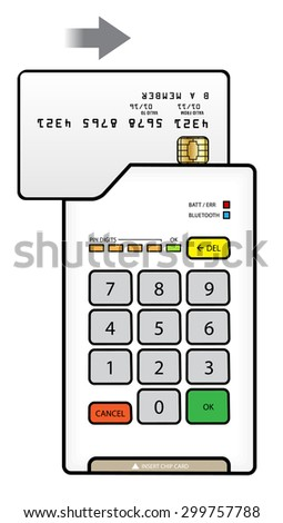 A small bluetooth point of sale pin pad / terminal with a card in the swipe slot. - stock vector