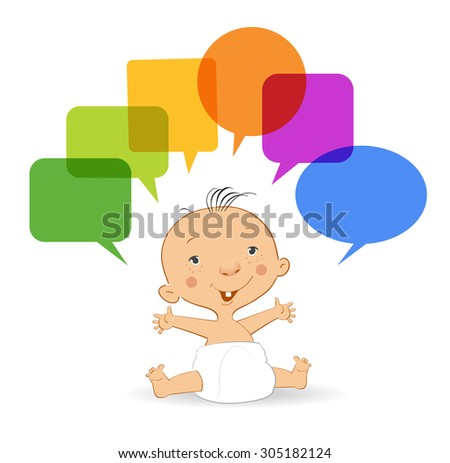 A small child with speech bubble. File is saved in 10 EPS version. This illustration contains a transparency - stock vector