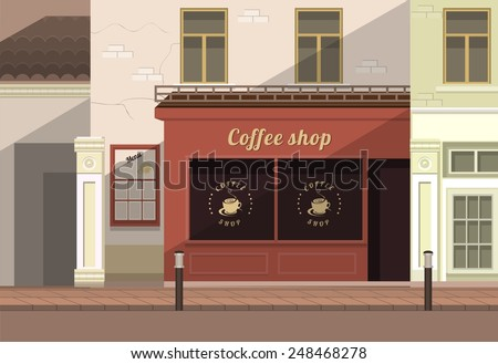 a small coffee shop on the streets of the old town - stock vector
