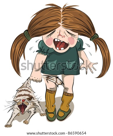 A small girl and a cat - stock vector