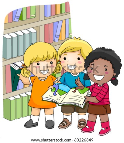A Small Group of Kids Checking Books in the Library - Vector
