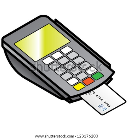 A small hand-held point of sale pin pad / terminal with a chipped card inserted. - stock vector