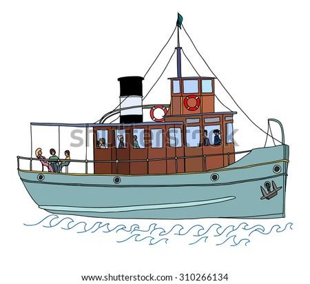 A small passenger ship (steamer). Color vector illustration on white background. - stock vector