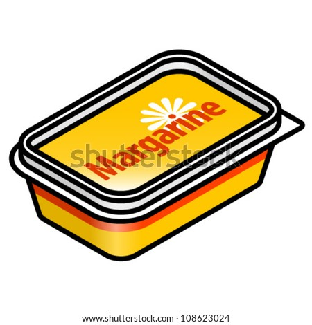 A small plastic tub of margarine. - stock vector
