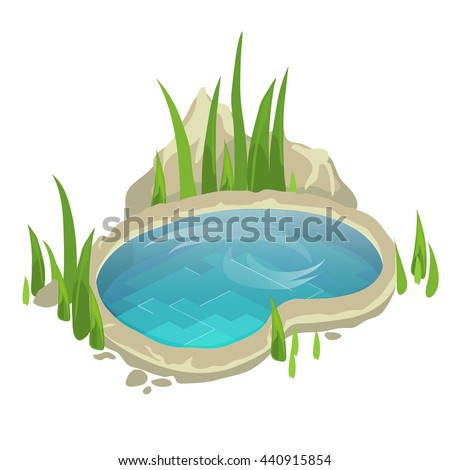 A small pond with grass for landscape design. Vector illustration.