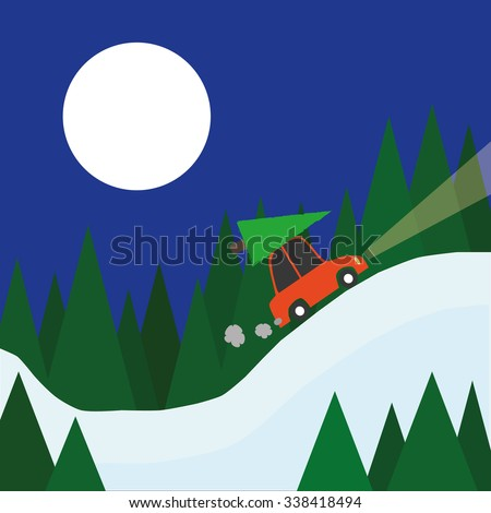 A small red car with a christmas tree on the roof drives home through a winter landscape of snow and trees beneath a full moon - stock vector