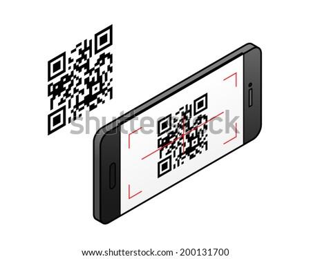 A smartphone scanning a QR code. - stock vector