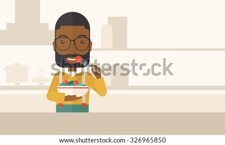 A smiling african-american man with beard in glasses eating salad vector flat design illustration. Healthy concept. Horizontal layout with a text space. - stock vector