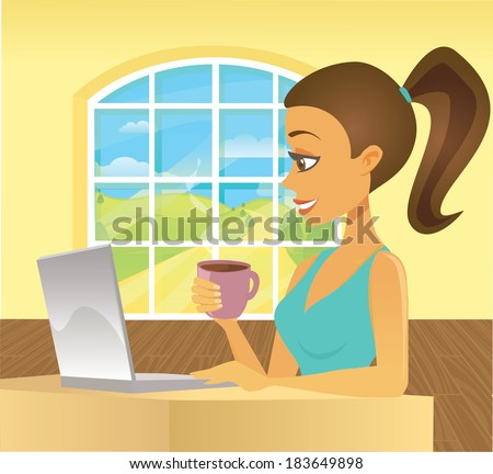 A smiling cartoon woman types on a laptop holding a cup of coffee in a sunny room. - stock vector