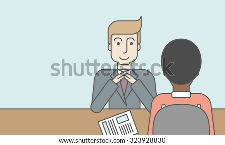 A smiling caucasian human resource manager interviewed the applicant with his curriculum vitae for the job vacancy. Employment concept. Vector line design illustration. Horizontal layout with a text - stock vector
