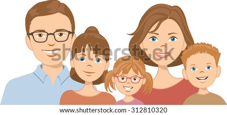 A smiling family consisting of mother, father, and three children. Each character is individually grouped for easy deletion or repositioning. Vector illustration