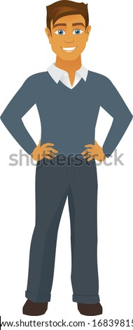 A smiling fit cartoon man smiles at the camera with hands on hips. - stock vector