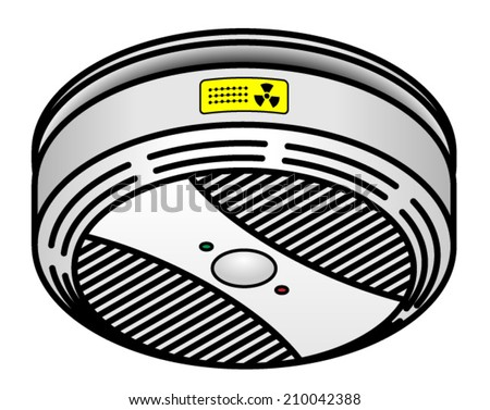 A smoke detector with a test button and two LED indicators. - stock vector