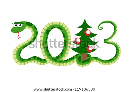 a snake as symbol of new year - stock vector