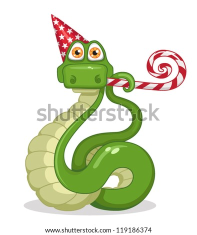 a snake celebrating new year - stock vector
