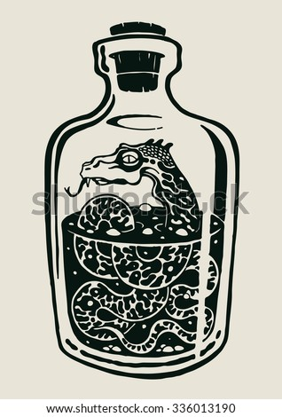 A snake in the bottle of alcohol. design elements. vector illustration. - stock vector