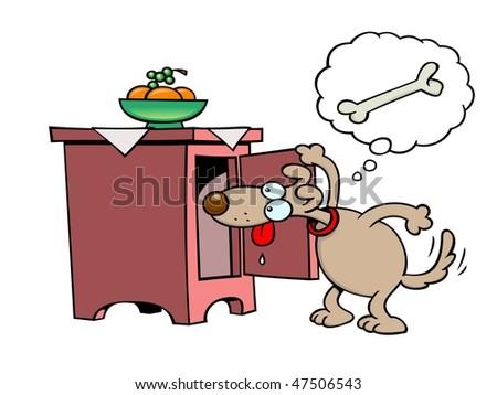 Cartoon Man With Gun Eating A Hot Dog