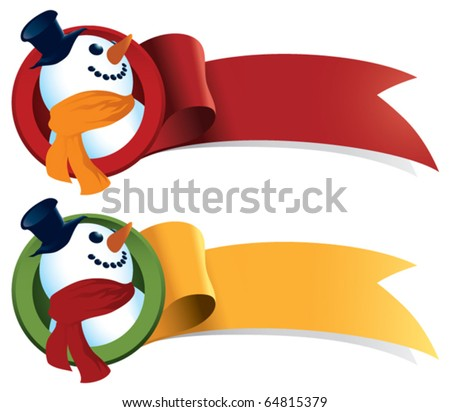 A snowman Christmas ribbon. Just add text and it's perfect for tags, web banners, holiday greetings and stickers. - stock vector