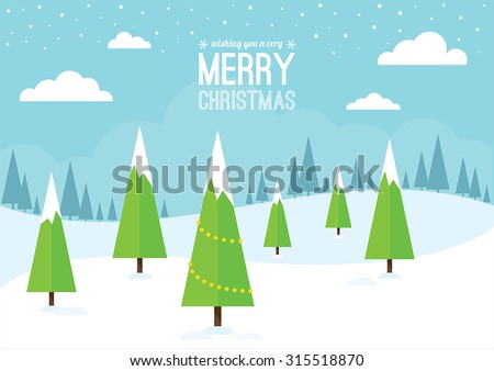 A snowy winter landscape with Christmas trees.