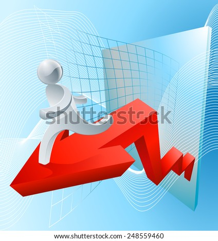 A soaring market concept with a red arrow showing increasing value or success  - stock vector