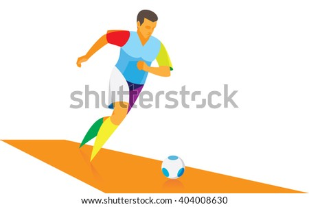 A soccer player begins to attack his team - stock vector