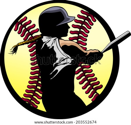 a softball batter hitting a home run, silhouetted in a fast-pitch softball. - stock vector