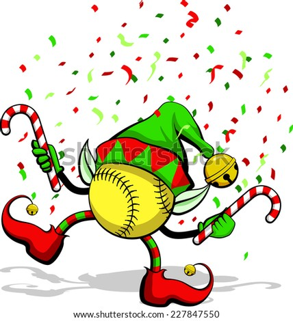 A softball celebrating Christmas by dancing with candy canes, elf ears, hat and ears, and confetti. - stock vector
