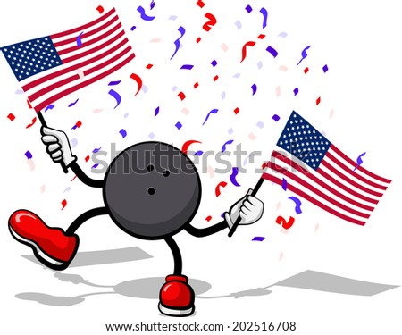 A softball with arms and legs waving an American Flag with confetti falling.