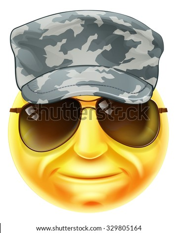 A soldier emoji emoticon smiley face character wearing a camouflaged cap and sunglasses - stock vector