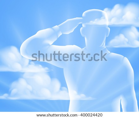 A soldier saluting with cloud sky background, design for Memorial Day or Veterans Day - stock vector
