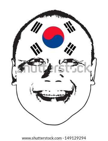 A South Korea flag on a face, isolated against white.  - stock vector