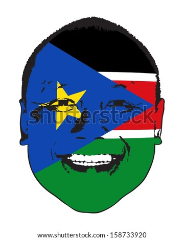 A South Sudan flag on a face, isolated against white.  - stock vector