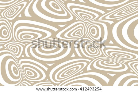 a space distortion illustration with twisted circles pattern, in soft brown and white