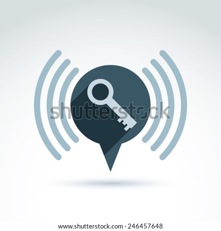 A speech bubble with a key simple icon isolated on white, security theme. Vector conceptual unusual symbol for your design. - stock vector