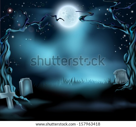A spooky scary Halloween background scene with full moon, graves and scary trees - stock vector