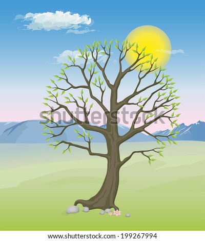 A spring tree with green lush foliage against the background of mountains and sky - stock vector
