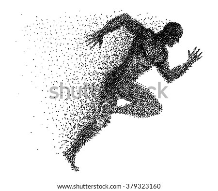 A sprinter made from small dots - stock vector