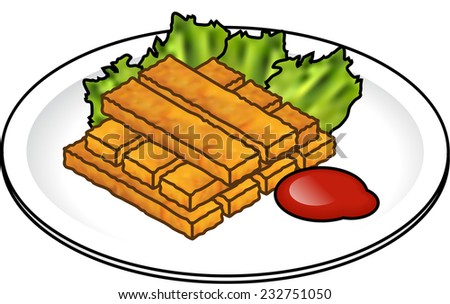 A stack of fingers on a plate with lettuce leaves and tomato sauce.  - stock vector
