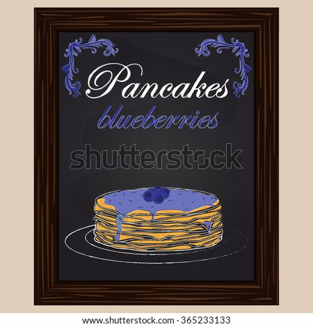 A stack of fresh hot  delicious pancakes with blueberries and blueberry jam on the plate drawn in chalk on a blackboard