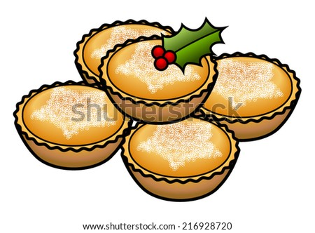 A stack of 5 mince tarts / pies decorated with a holly leaf and berries. - stock vector