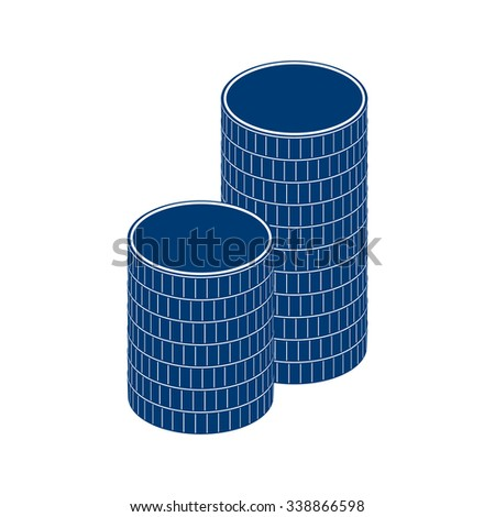 A stack of round coins. Vector illustration.