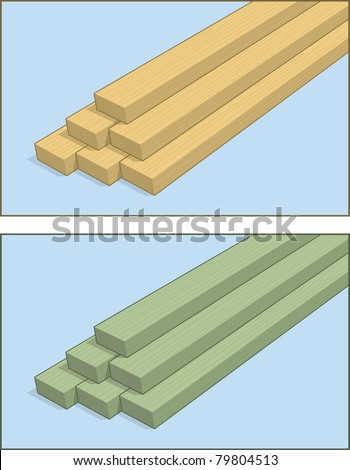 A stack of 2x4, and pressure treated 2x4 lumber - stock vector