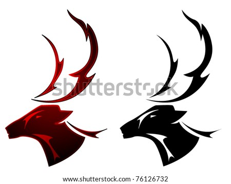 A stag deer tattoo design in two color schemes - stock vector