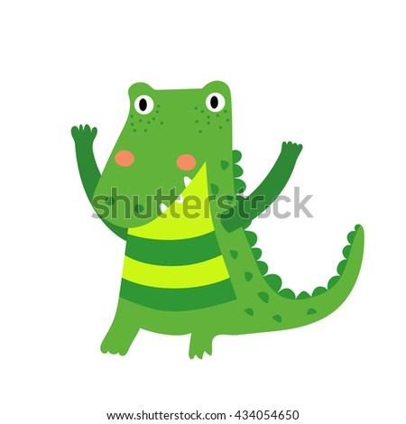 A standing alligator cartoon character. Isolated on white background. Vector illustration.