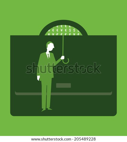 A standing businessman with an umbrella and a portfolio - stock vector