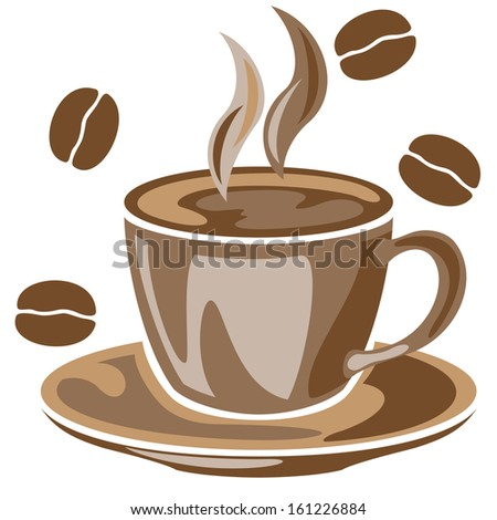 A steaming cup of coffee and coffee beans drawing - stock vector